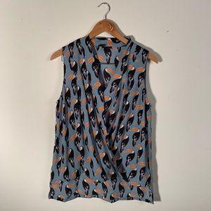 Ann Taylor Factory | Blue Toucan Print Tank
